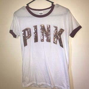 PINK white and maroon t-shirt